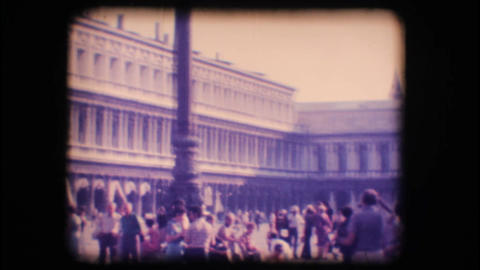 Vintage 8mm. St. Mark's square in Venice Footage