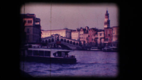 Vintage 8mm. Rialto Bridge in Venice Stock Video Footage