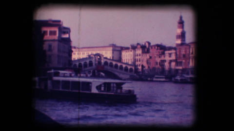Vintage 8mm. Rialto Bridge in Venice Stock Video Footage