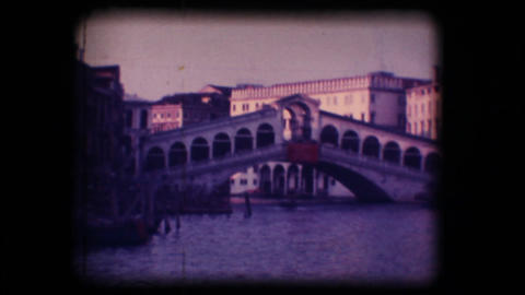 Vintage 8mm. Rialto Bridge in Venice Footage