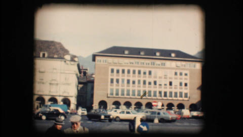 Vintage 8mm. Busy street in Bolzano Stock Video Footage
