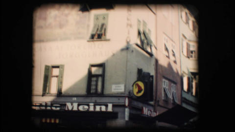 Vintage 8mm. Winter market in Bolzano Stock Video Footage