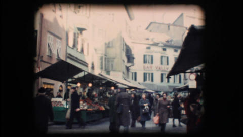 Vintage 8mm. Winter market in Bolzano Footage