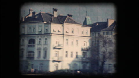 Vintage 8mm. Buildings in Bolzano Stock Video Footage