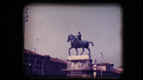 Vintage 8mm. Statue of man on horseback Stock Video Footage