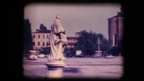 Vintage 8mm. Town square and church Footage