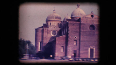Vintage 8mm. Town square and church Stock Video Footage