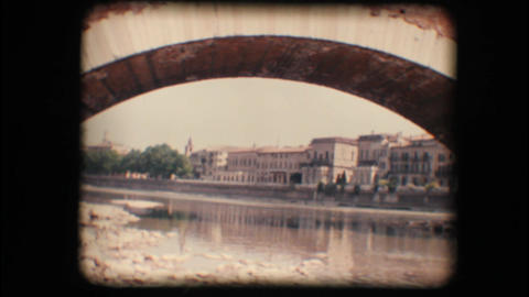 Vintage 8mm. Adige river in Verona Stock Video Footage