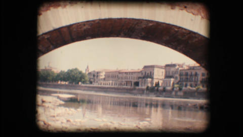 Vintage 8mm. Adige river in Verona Footage