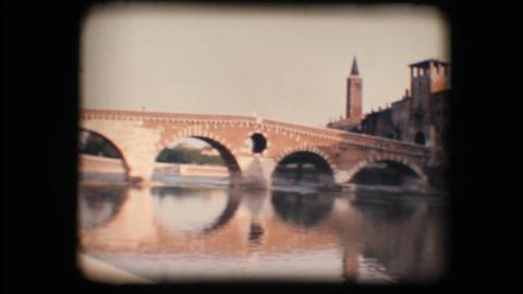 Vintage 8mm. Medieval bridge in Verona Stock Video Footage