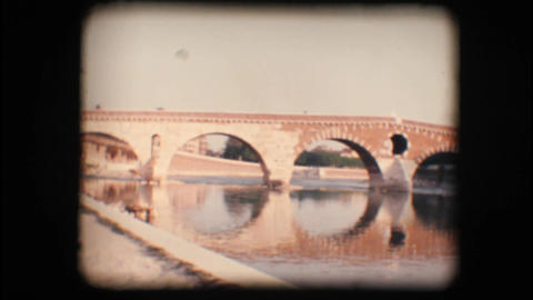 Vintage 8mm. Medieval bridge in Verona Footage