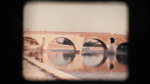 Vintage 8mm. Medieval bridge in Verona Stock Video Footage