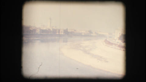 Vintage 8mm. Adige river view from above Stock Video Footage