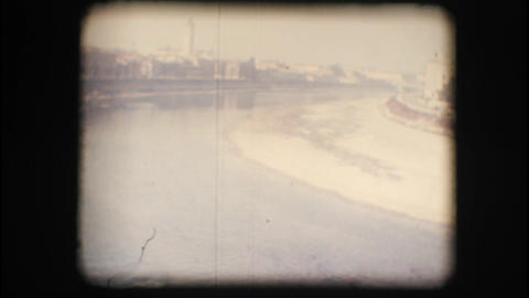 Vintage 8mm. Adige river view from above Footage