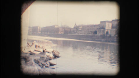 Vintage 8mm. Adige river and buildings Stock Video Footage