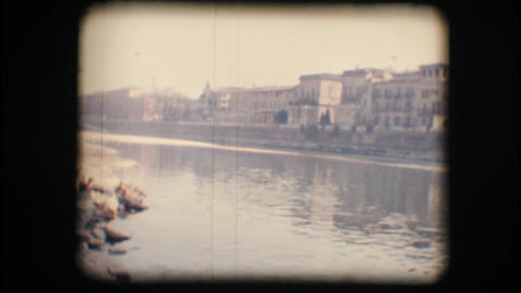 Vintage 8mm. Adige river and buildings Footage