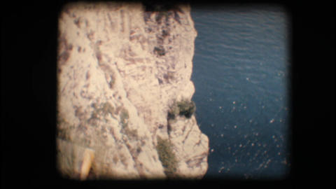 Vintage 8mm. Cliffs on a lake Stock Video Footage