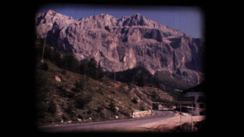 Vintage 8mm. Dolomite mountains and Gardena valley Stock Video Footage