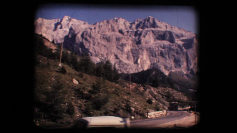 Vintage 8mm. Dolomite mountains and Gardena valley Footage