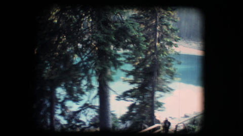 Vintage 8mm. Calm mirroring lake Stock Video Footage