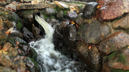 Water pours from a pipe in the city park. Wide shot Stock Video Footage