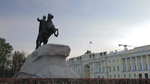 Timelapse. A monument to Peter the great - the bronze horseman and passing airplane Footage