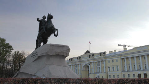 Timelapse. A monument to Peter the great - the bronze... Stock Video Footage