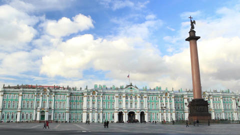 Timelapse. Winter Palace and Alexander Column on Palace... Stock Video Footage