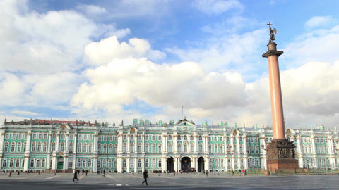 Timelapse. Winter Palace and Alexander Column on Palace Square in St. Petersburg at sunset Footage