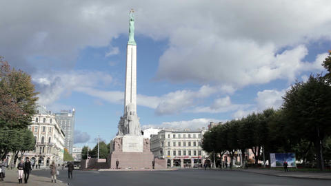 The Freedom Monument. It memorial is honouring soldiers killed during the Latvian War of Independenc Footage