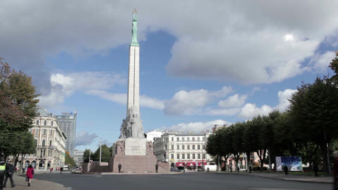 The Freedom Monument. It memorial is honouring soldiers... Stock Video Footage
