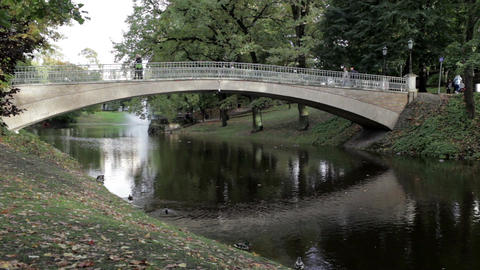 The bridge in the city park Stock Video Footage