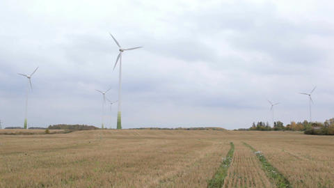 Many wind turbines in the field. Green energy Footage
