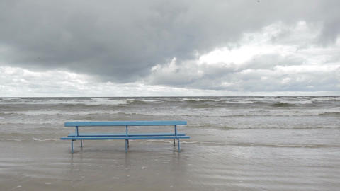 Bench On The Baltic Sea Shore. Autumn Landscape stock footage