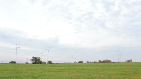 Many wind turbines in the field Live Action