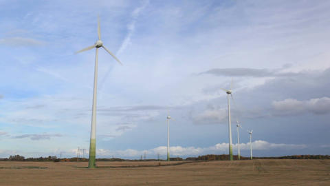 Wind turbines in the field. Time lapse Footage