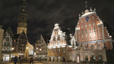 Beautiful old architecture of the central square of Riga.... Stock Video Footage