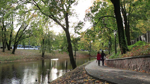 City park in the centre of Riga Footage