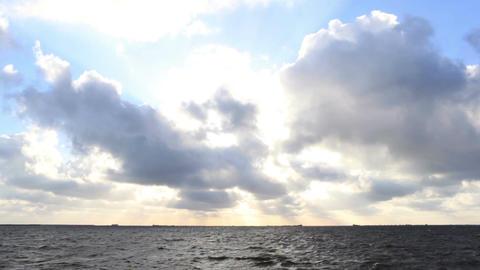 Dark sea with bright sky Stock Video Footage