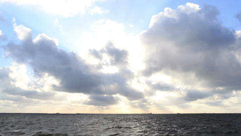 Dark Sea With Bright Sky stock footage