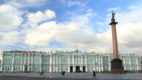 People are walking near the Hermitage in St.-Petersburg.... Stock Video Footage