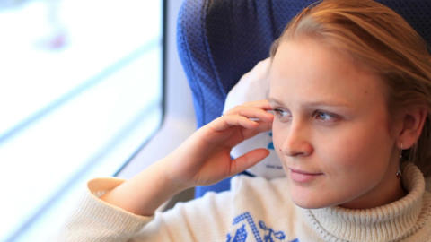 Young Girl Is Travelling By A High-speed Train stock footage