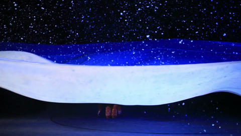 The scene of winter snowstorm in the stage play... Stock Video Footage