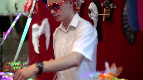 Seller of the light chinese toys in Akvamarine circus on November 11, 2012 in Moscow, Russia Footage