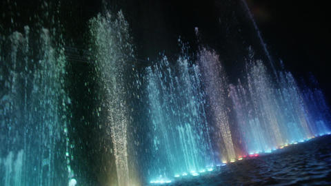 Dancing fountain. Diagonal wide shot. Slow motion Stock Video Footage