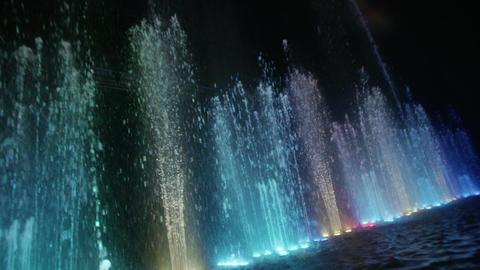 Dancing fountain. Diagonal wide shot. Slow motion Stock Video Footage