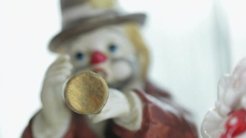 Different shots of the clown statuettes in Akvamarine circus. Many figurines Footage