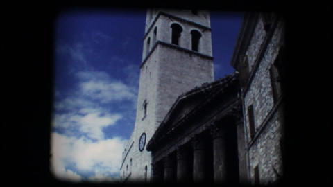 Vintage 8mm. Church and steeple in Assisi Stock Video Footage