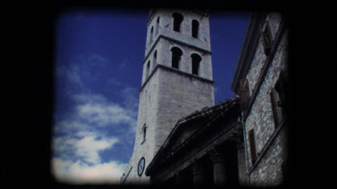 Vintage 8mm. Church and steeple in Assisi Footage