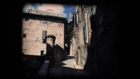 Vintage 8mm. Little street in Assisi Stock Video Footage